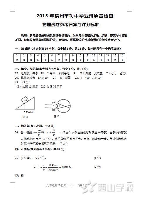 【物理】2015年福州市初中毕业班质量检查 物理试卷参考答案与评分标准